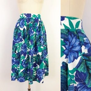 1980s Tropical Rayon Floral Skirt A-Line N1013